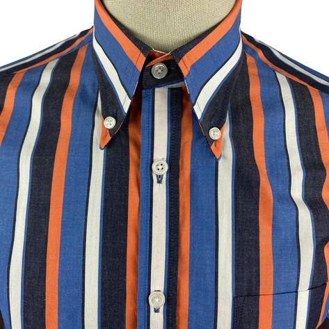 Ska & Soul Short Sleeve Spearpoint Collar Stripe Shirt Navy Thumbnail 3