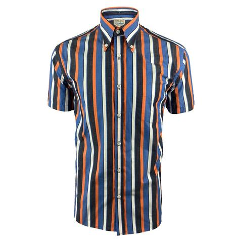 Ska & Soul Short Sleeve Spearpoint Collar Stripe Shirt Navy Thumbnail 1