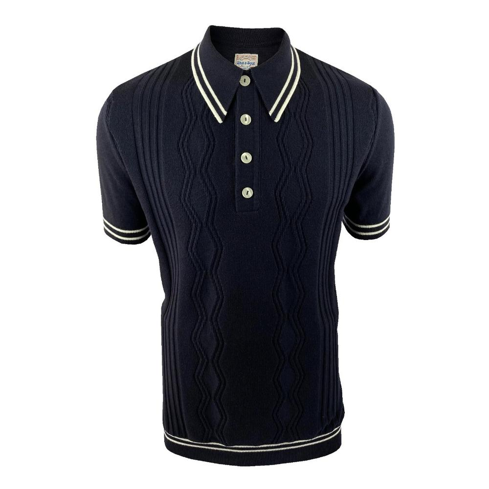 Ska & Soul Fine Texture Knit Short Sleeve Spearpoint Polo Navy