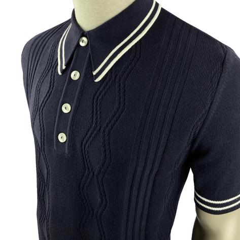 Ska & Soul Fine Texture Knit Short Sleeve Spearpoint Polo Navy Thumbnail 2