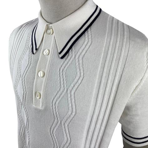Ska & Soul Fine Texture Knit Short Sleeve Spearpoint Polo Ecru Thumbnail 2