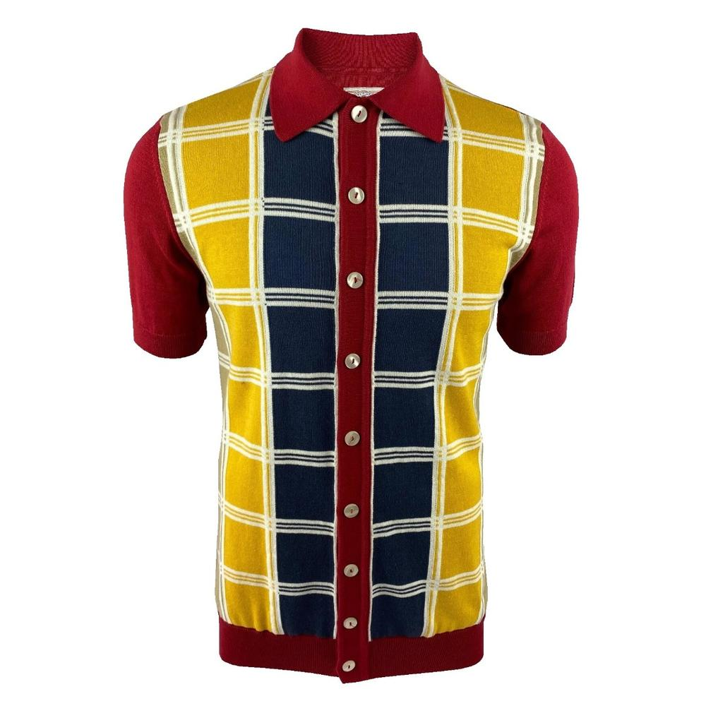 Ska & Soul Fine Knit Short Sleeve Check Panel Cardigan Deep Red