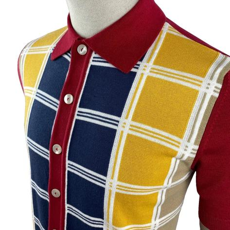 Ska & Soul Fine Knit Short Sleeve Check Panel Cardigan Deep Red Thumbnail 2