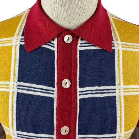 Ska & Soul Fine Knit Short Sleeve Check Panel Cardigan Deep Red Thumbnail 3