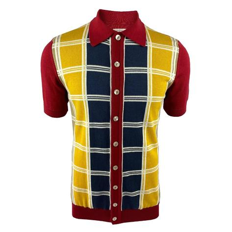 Ska & Soul Fine Knit Short Sleeve Check Panel Cardigan Deep Red Thumbnail 1