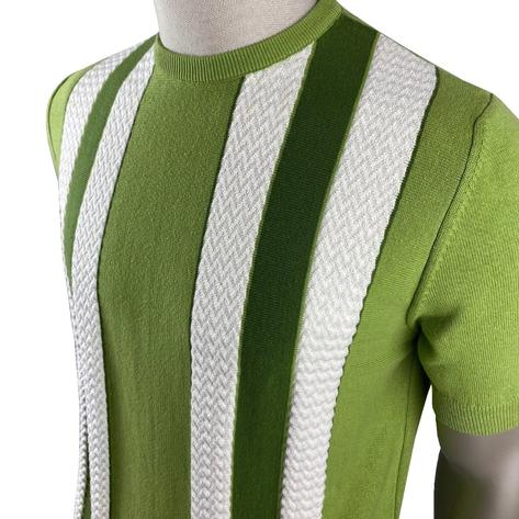 Ska & Soul Fine Gauge Crew Neck Texture Stripe Top Green Thumbnail 2