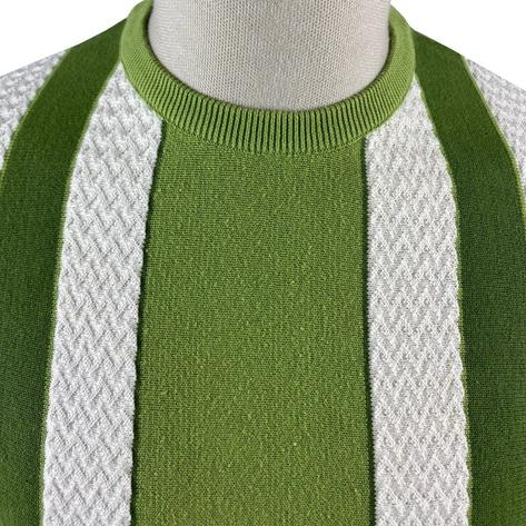 Ska & Soul Fine Gauge Crew Neck Texture Stripe Top Green Thumbnail 3
