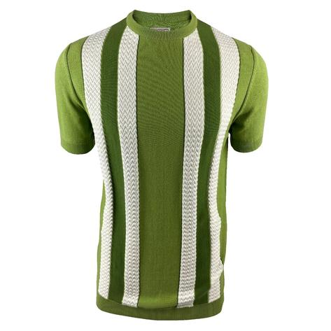 Ska & Soul Fine Gauge Crew Neck Texture Stripe Top Green Thumbnail 1