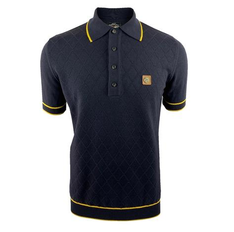 Trojan Records Diamond Panel Fine Knit Polo Navy