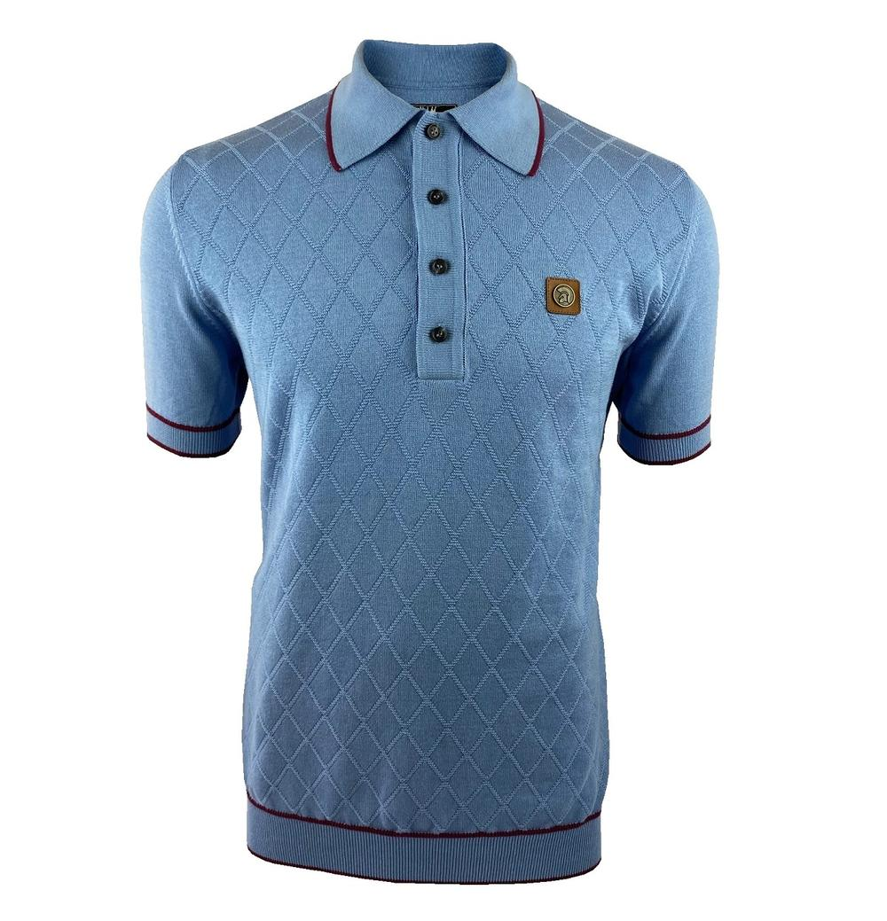 Trojan Records Diamond Panel Fine Knit Polo Sky