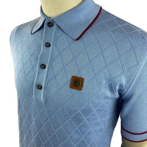 Trojan Records Diamond Panel Fine Knit Polo Sky Thumbnail 2