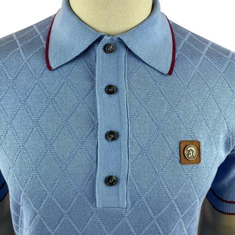 Trojan Records Diamond Panel Fine Knit Polo Sky Thumbnail 3