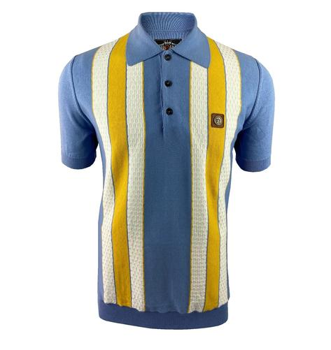 Trojan Records Texture Block Stripe Fine Knit Polo Sky