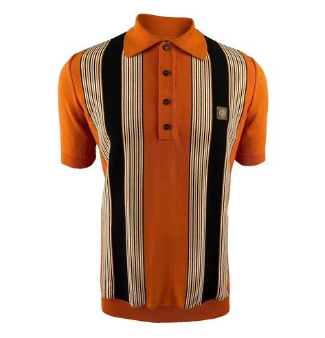 Trojan Records Multi Stripe Fine Knit Polo Orange