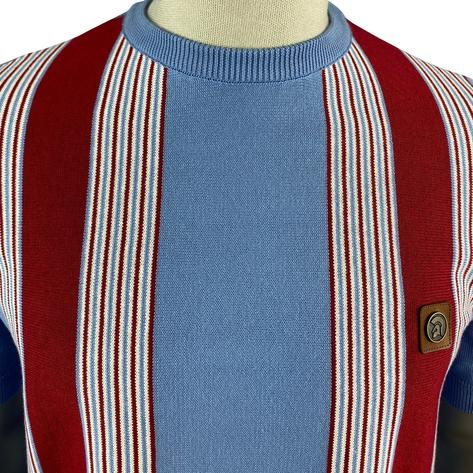 Trojan Records Multi Stripe Fine Knit Crew Neck Top Sky Thumbnail 3