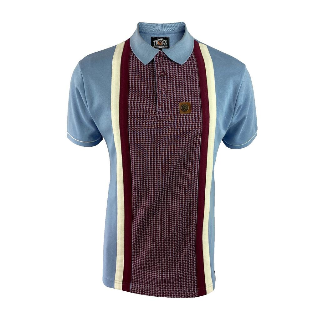 Trojan Records Houndstooth Panel Stripe Polo Sky