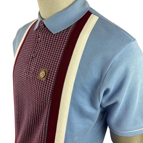 Trojan Records Houndstooth Panel Stripe Polo Sky Thumbnail 2