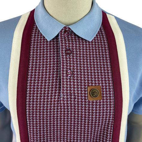 Trojan Records Houndstooth Panel Stripe Polo Sky Thumbnail 3