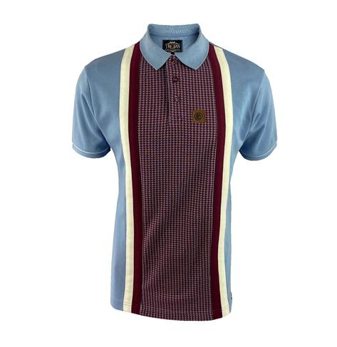 Trojan Records Houndstooth Panel Stripe Polo Sky Thumbnail 1