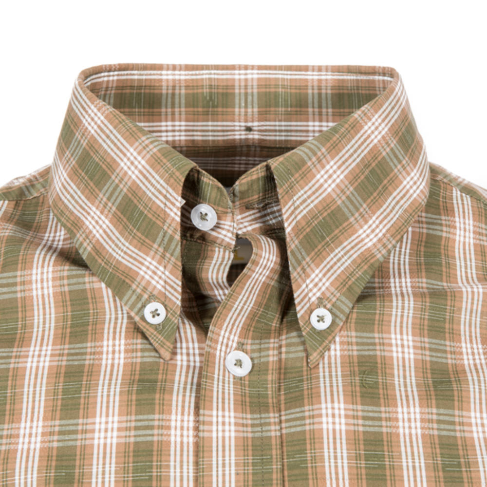 Adaptor Clothing Short Sleeve Spearpoint Collar Check Shirt Green And Khaki