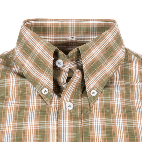 Adaptor Clothing Short Sleeve Spearpoint Collar Check Shirt Green And Khaki Thumbnail 1