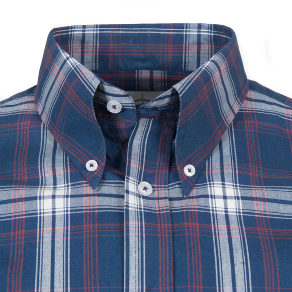 Adaptor Clothing Short Sleeve Spearpoint Collar Big Check Shirt Navy And Stone