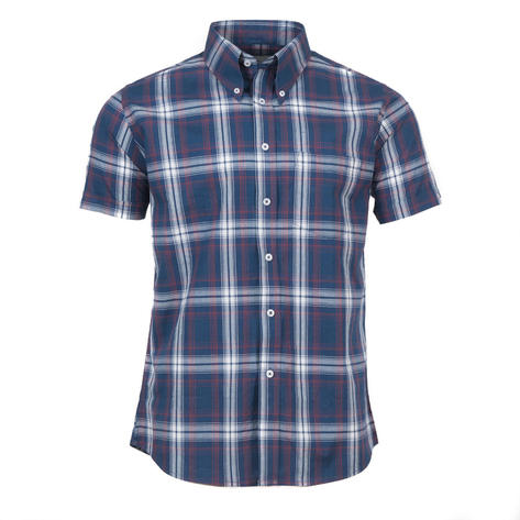 Adaptor Clothing Short Sleeve Spearpoint Collar Big Check Shirt Navy And Stone Thumbnail 2