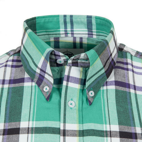 Adaptor Clothing Short Sleeve Spearpoint Collar Check Shirt Emerald And Navy