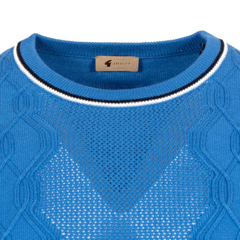 Gabicci Vintage Aertex Texture Knit Crew Neck Top Blue Thumbnail 2