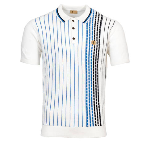 Gabicci Vintage Broken Texture Stripe Panel Knit Polo Shirt White Thumbnail 1