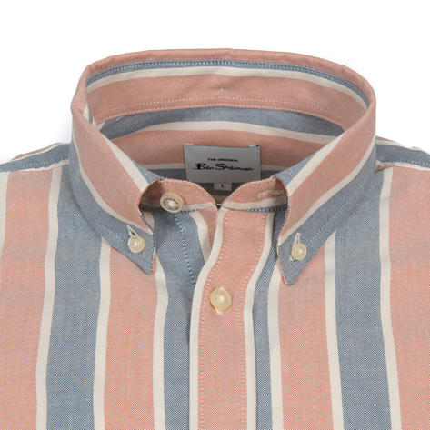 Ben Sherman Oxford Fabric Block Stripe Short Sleeve Shirt Blue And Red Thumbnail 2