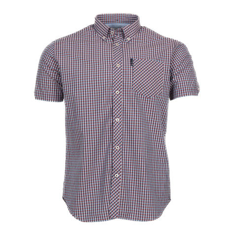 Ben Sherman Signature Gingham Short Sleeve Shirt Blue And Wine