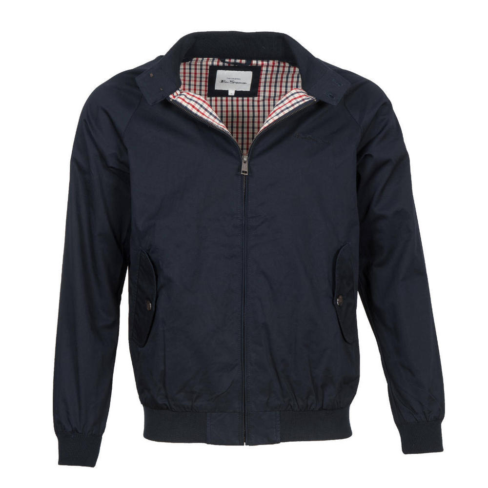Ben Sherman House Check Lined Harrington Jacket Navy Blue