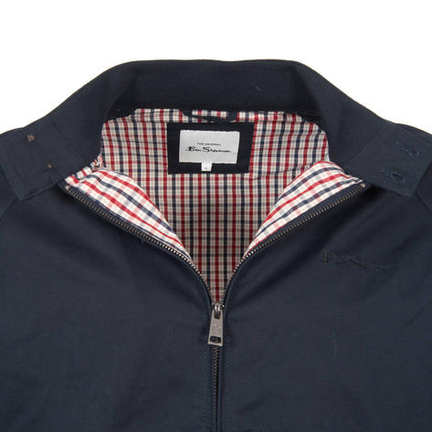Ben Sherman House Check Lined Harrington Jacket Navy Blue Thumbnail 2