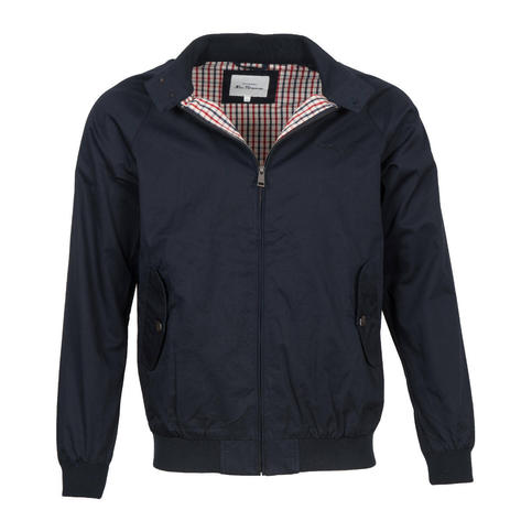 Ben Sherman House Check Lined Harrington Jacket Navy Blue Thumbnail 1