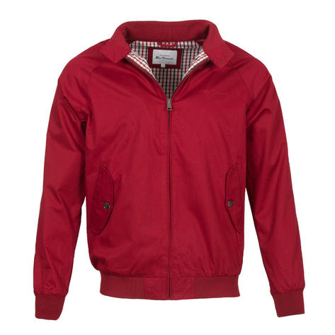Ben Sherman House Check Lined Harrington Jacket Red Thumbnail 1