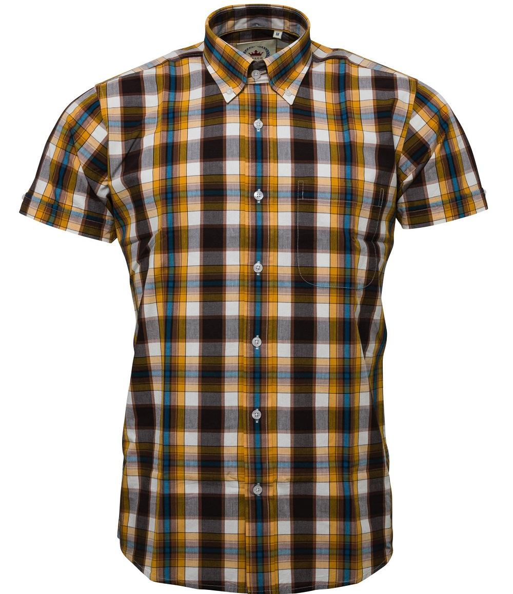 Relco Button Down Check Short Sleeve Shirt Mustard And Brown