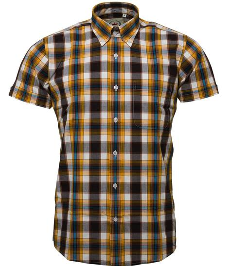 Relco Button Down Check Short Sleeve Shirt Mustard And Brown Thumbnail 1