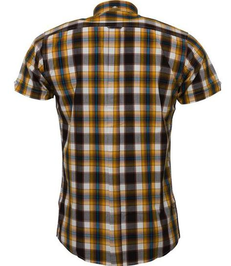 Relco Button Down Check Short Sleeve Shirt Mustard And Brown Thumbnail 2