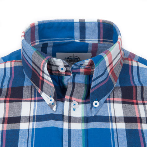 Adaptor Clothing Short Sleeve 4 Finger Collar Shirt Madras Check Blue Thumbnail 1