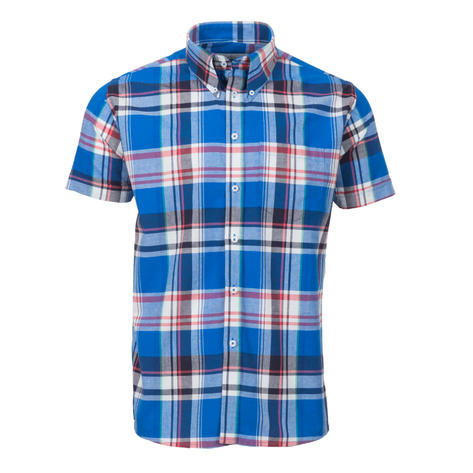 Adaptor Clothing Short Sleeve 4 Finger Collar Shirt Madras Check Blue Thumbnail 2