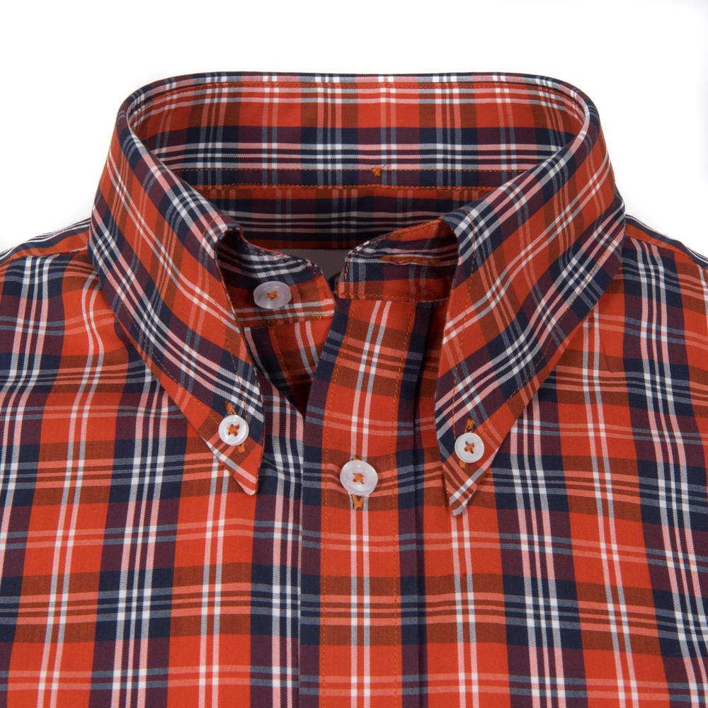 Adaptor Clothing Short Sleeve 4 Finger Collar Check Shirt Burnt Orange Navy
