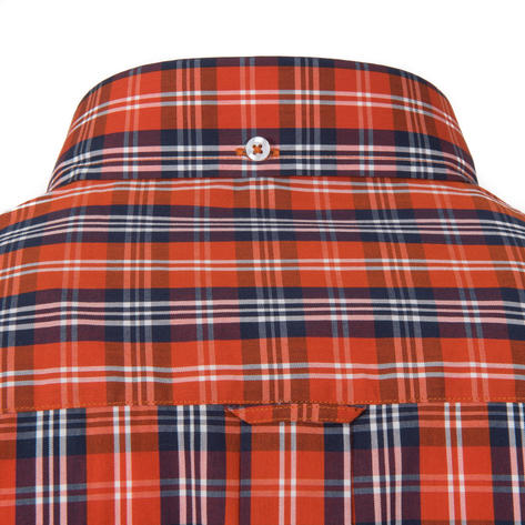 Adaptor Clothing Short Sleeve 4 Finger Collar Check Shirt Burnt Orange Navy Thumbnail 3