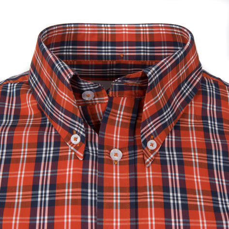 Adaptor Clothing Short Sleeve 4 Finger Collar Check Shirt Burnt Orange Navy Thumbnail 1