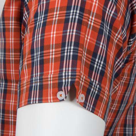 Adaptor Clothing Short Sleeve 4 Finger Collar Check Shirt Burnt Orange Navy Thumbnail 4