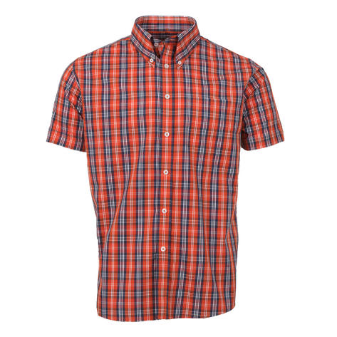 Adaptor Clothing Short Sleeve 4 Finger Collar Check Shirt Burnt Orange Navy Thumbnail 2