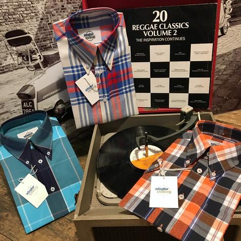 Adaptor Clothing Short Sleeve 4 Finger Collar Check Shirt Burnt Orange Navy Thumbnail 7