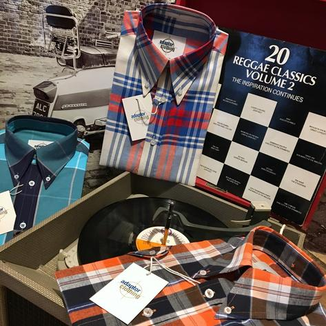 Adaptor Clothing Short Sleeve 4 Finger Collar Check Shirt Burnt Orange Navy Thumbnail 6