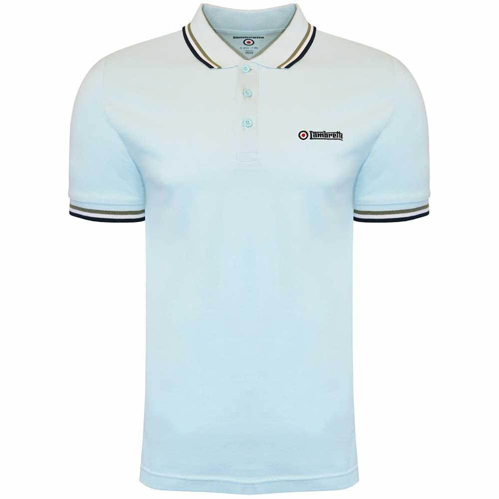 Homme Lambretta Logo Cible Tip Cotton Polo Shirt Ss 1650-Prune