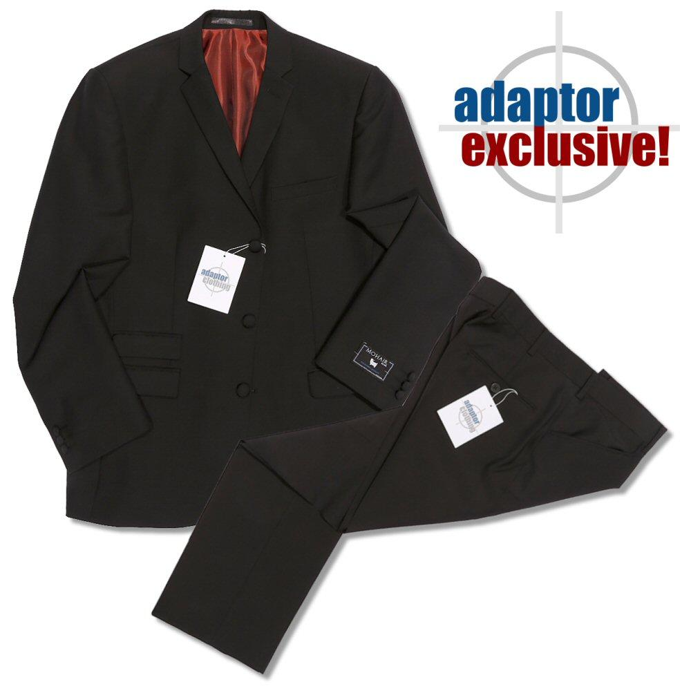 Adaptor Clothing Mod 60's Retro 3 Button Slim Mohair Suit Black